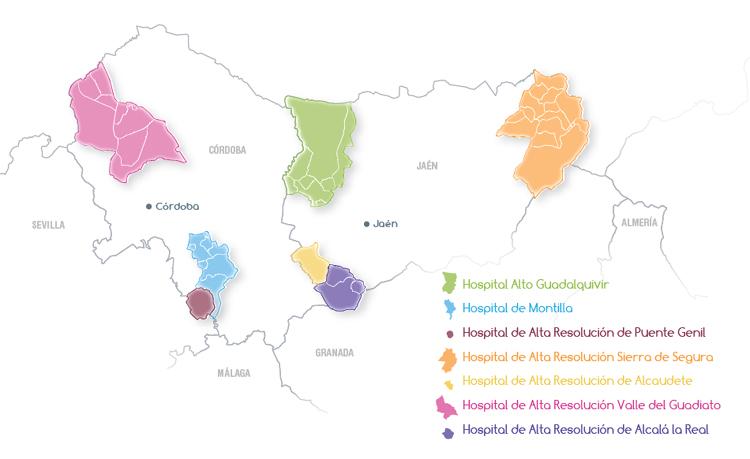 Mapa de la zona de referencia de la Agencia Sanitaria Alto Guadalquivir
