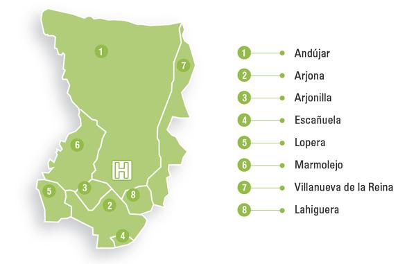 Mapa de la zona de referencia del Hospital Alto Guadalquivir