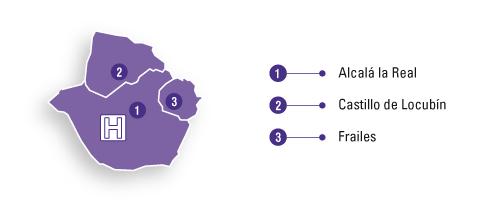Mapa de la zona de referencia del Hospital de Alta Resolución de Alcalá la Real