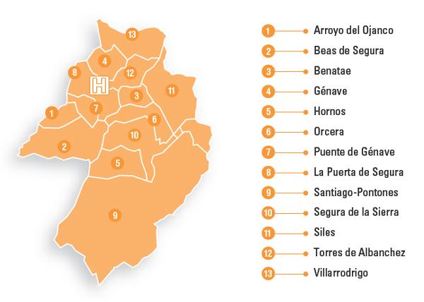 Mapa de la zona de referencia del Hospital de Alta Resolución Sierra de Segura