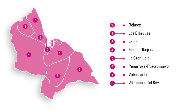 Mapa de la zona de referencia del Hospital de Alta Resolución Valle del Guadiato