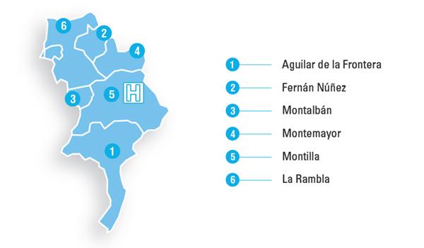 Mapa de la zona de referencia del Hospital de Montilla